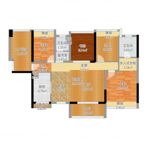 藏珑湖上国际社区4室1厅4卫3厨142.00㎡户型图