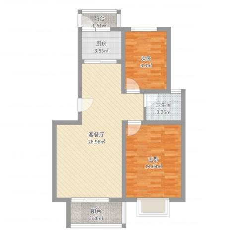 正康花园2室2厅1卫1厨77.00㎡户型图