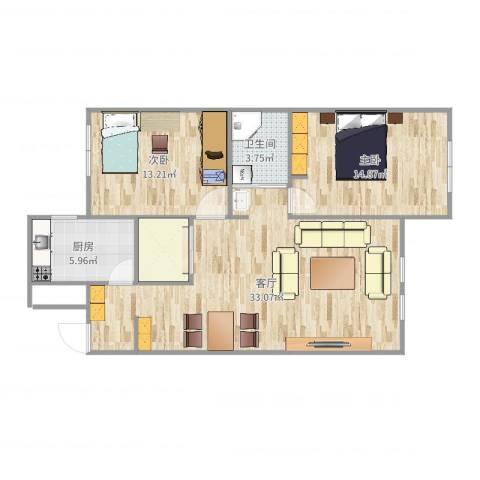 半山公馆2室1厅1卫1厨92.00㎡户型图