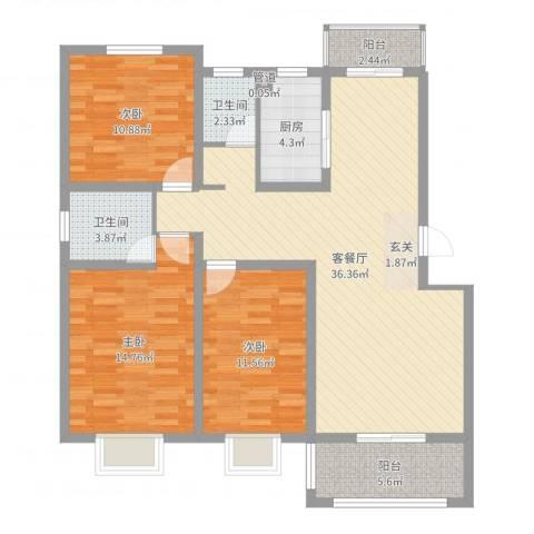 金达华府3室2厅2卫1厨115.00㎡户型图