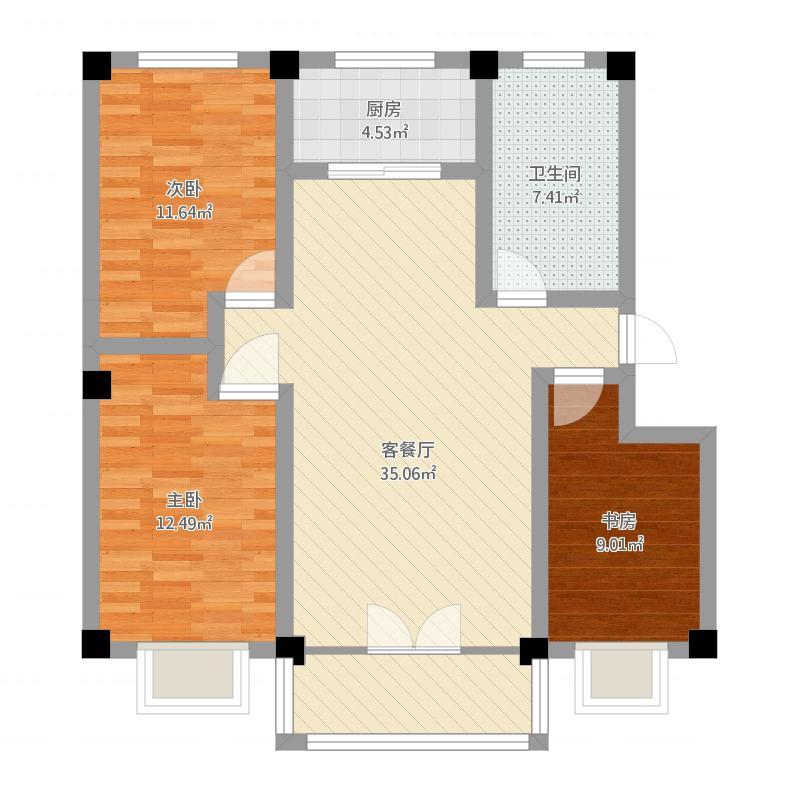 大河锦绣城106.55三室两厅一厨一卫
