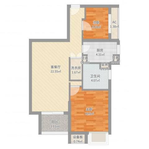 上海滩大宁城2室2厅1卫1厨68.00㎡户型图