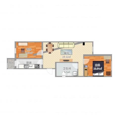 开阳里小区2室1厅1卫1厨61.00㎡户型图