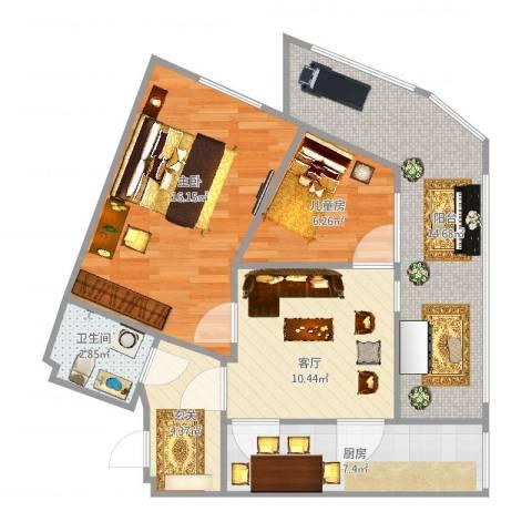 北兴教育园2室1厅1卫1厨93.00㎡户型图