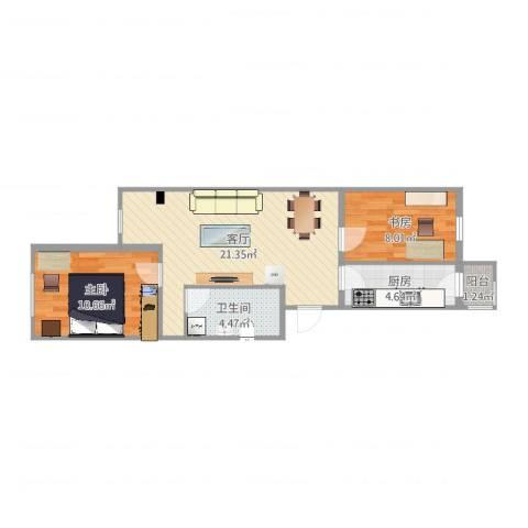 开阳里小区2室1厅1卫1厨63.00㎡户型图