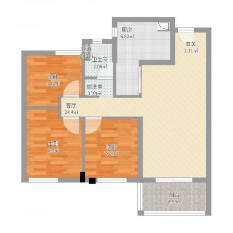 万科城花�苑3室2厅1卫1厨90.00㎡户型图