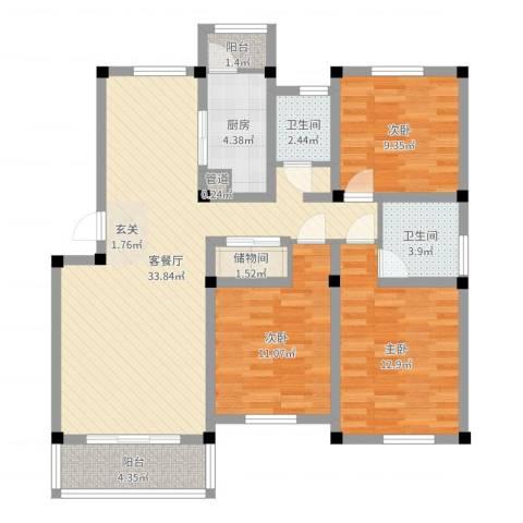 今日家园3室2厅2卫1厨107.00㎡户型图