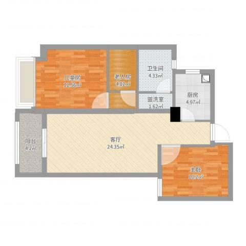 湖畔现代城3室3厅1卫1厨84.00㎡户型图