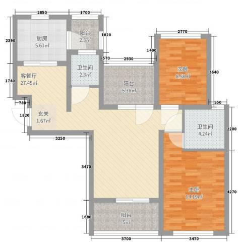 金域华府2室2厅2卫1厨110.00㎡户型图