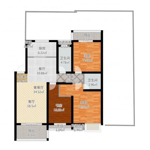 东海未名园3室2厅2卫1厨126.00㎡户型图