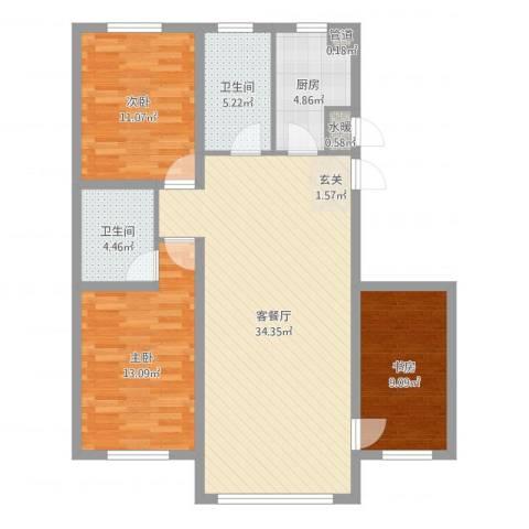 东湖凤还朝3室2厅2卫1厨104.00㎡户型图