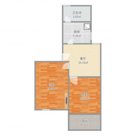 东陆新村六街坊2室1厅1卫1厨61.00㎡户型图