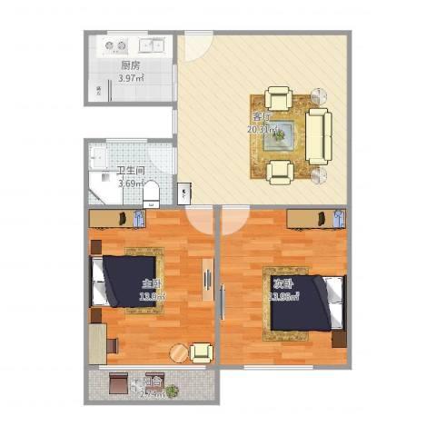 俞三小区2室1厅1卫1厨63.00㎡户型图