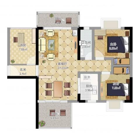 天喜东方3室2厅1卫1厨91.00㎡户型图