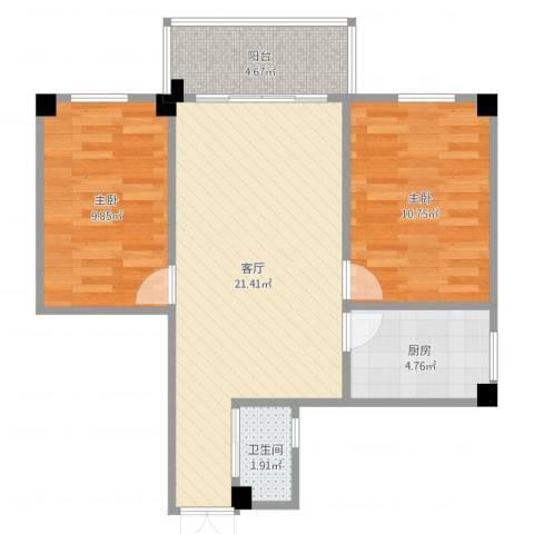 番禺富华楼new2室1厅1卫1厨67.00㎡户型图
