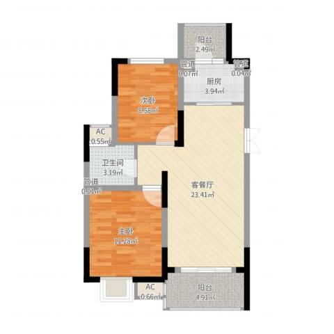 国信龙湖世家2室2厅1卫1厨74.00㎡户型图