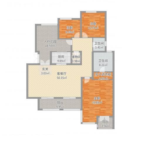 龙湖弗莱明戈别墅3室2厅2卫1厨190.00㎡户型图
