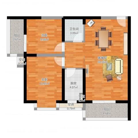 翡翠明珠2室2厅1卫1厨87.00㎡户型图