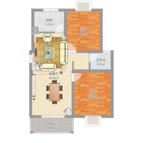 大桥新城2室2厅2卫1厨84.00㎡户型图