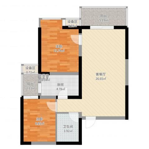 翡翠明珠2室2厅1卫1厨81.00㎡户型图