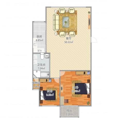 浦东花园2室1厅1卫1厨121.00㎡户型图