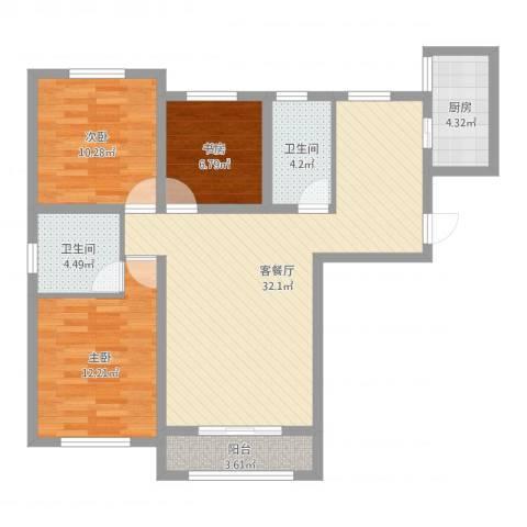 泛泰依山郡3室2厅2卫1厨97.00㎡户型图