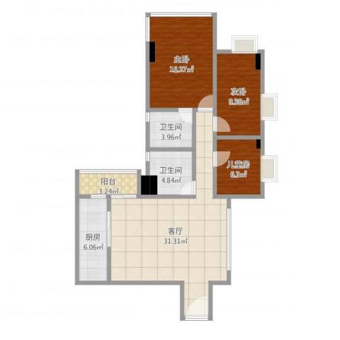 淘金华庭3室1厅2卫1厨100.00㎡户型图