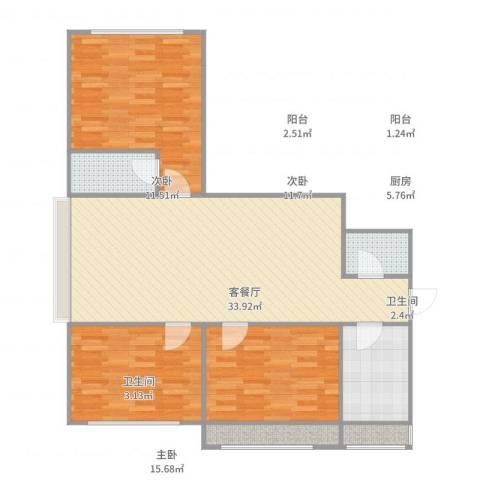 美丽心殿3室2厅2卫1厨110.00㎡户型图