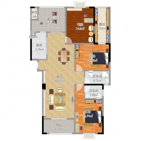 运河名都3室1厅4卫1厨154.00㎡户型图