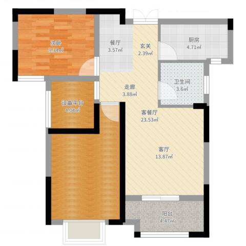 平安光谷春天1室2厅1卫1厨78.00㎡户型图