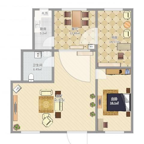 金霞别墅2室2厅1卫1厨120.00㎡户型图