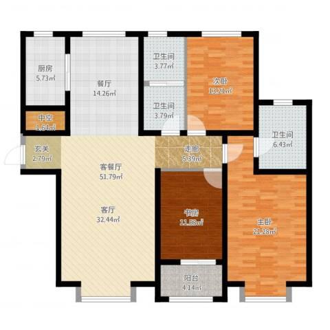 秀兰城市美居3室2厅3卫1厨154.00㎡户型图