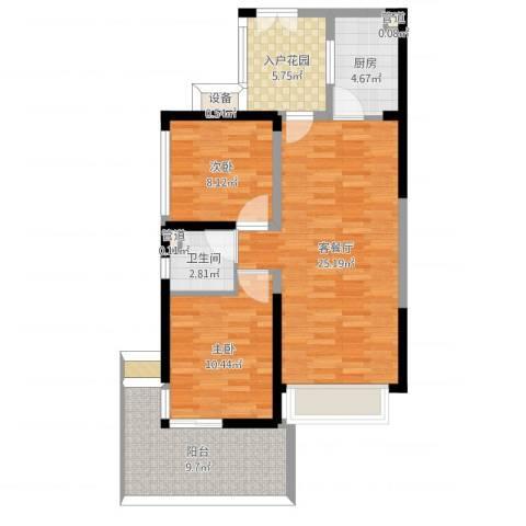 深业东城上邸奇数层2室2厅4卫3厨75.00㎡户型图