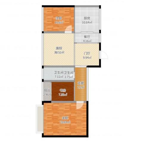 今创启园3室1厅1卫1厨134.00㎡户型图