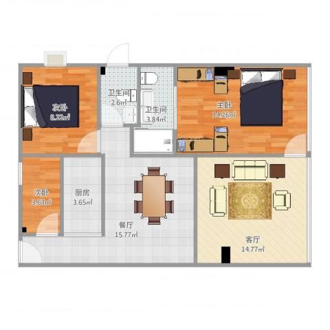 金山花园3室2厅2卫1厨83.00㎡户型图