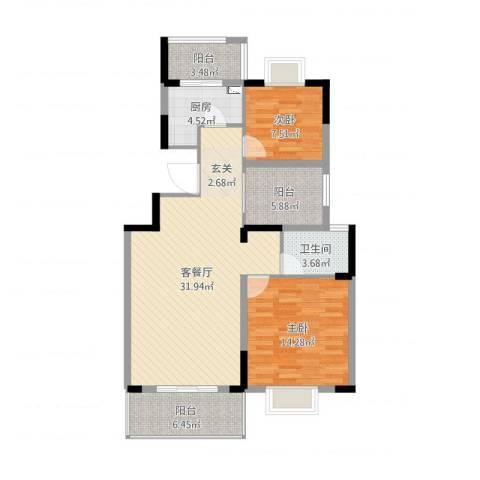 海纳国际2室2厅1卫1厨97.00㎡户型图