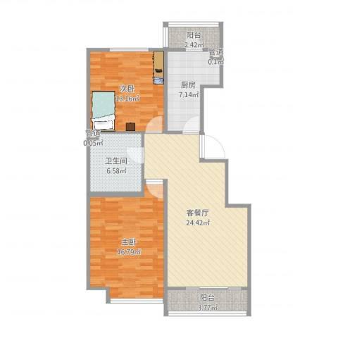 万通时代广场2室2厅1卫1厨93.00㎡户型图