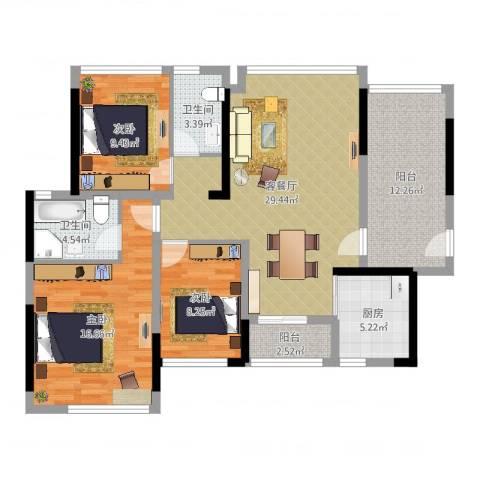 金地格林3室2厅2卫1厨115.00㎡户型图