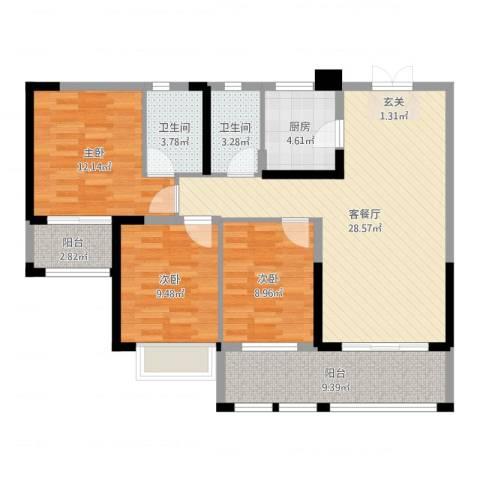 金牛小区3室2厅2卫1厨104.00㎡户型图
