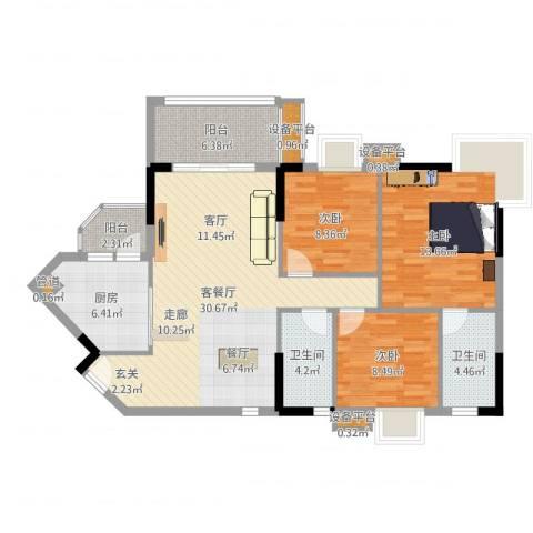 世纪绿洲3室2厅2卫1厨108.00㎡户型图