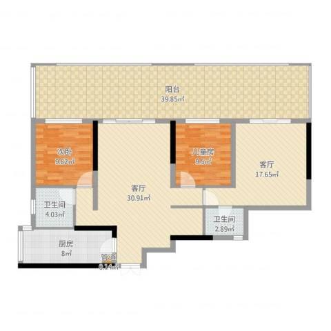 佳禾钰茂香港城16.3.282室2厅3卫1厨153.00㎡户型图