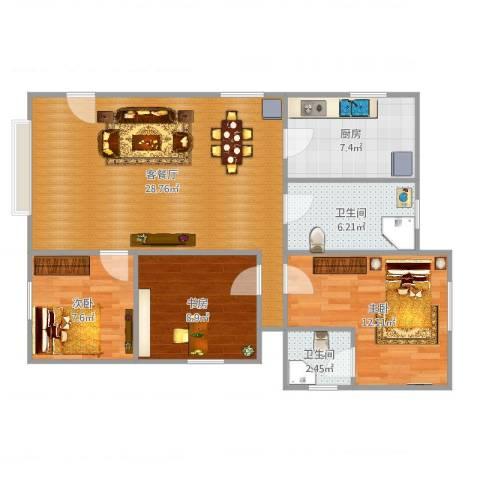 星辰花园3室2厅2卫1厨92.00㎡户型图
