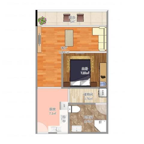 云澜湾1室1厅1卫1厨52.00㎡户型图