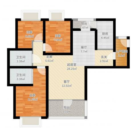 腾瑞·幸福里3室1厅2卫1厨94.00㎡户型图