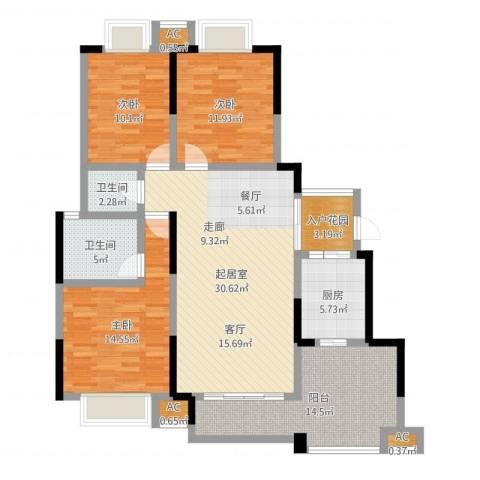 璧山金科中央公园城3室1厅5卫1厨124.00㎡户型图