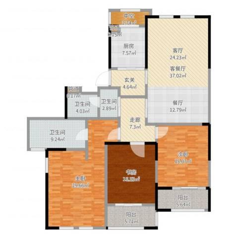 黄浦滩名苑3室2厅3卫1厨189.00㎡户型图