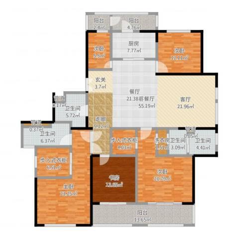 黄浦滩名苑5室2厅4卫1厨239.00㎡户型图