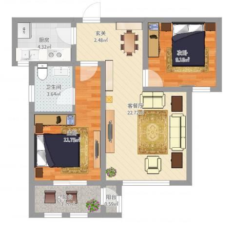 枫桦豪景2室2厅1卫1厨70.00㎡户型图