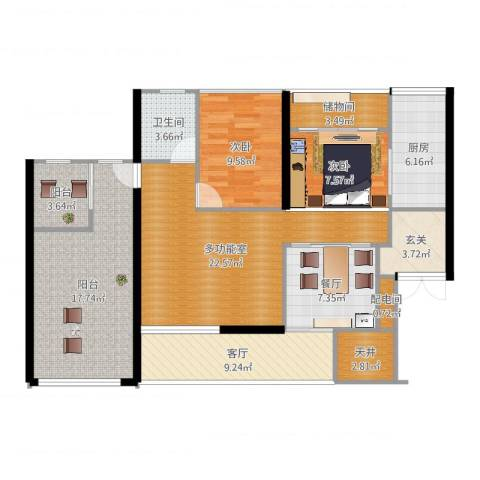 泰和花园小区2室2厅1卫1厨123.00㎡户型图