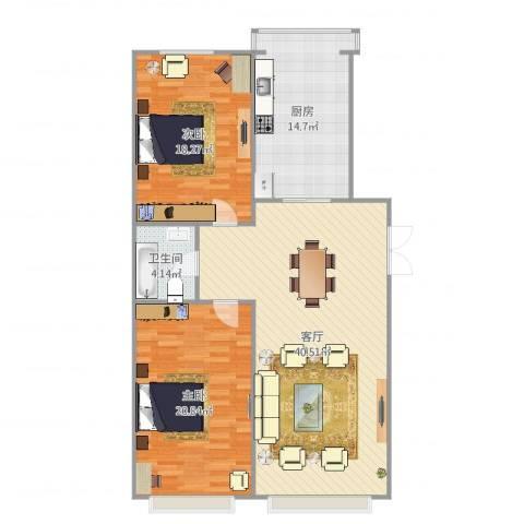 南宫雅苑2室1厅1卫1厨123.00㎡户型图